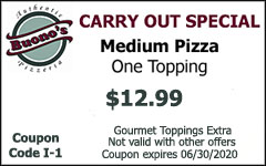 Carry Out Special Medium Pizza $12.99