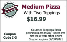 Medium Pizza with Two Toppings $16.99