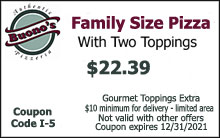 Family Size Pizza with Two Toppings $22.39